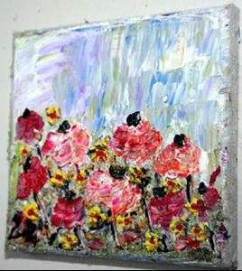 Detail Image for art FLOWERS Impasto Palette Knife Textured Oil