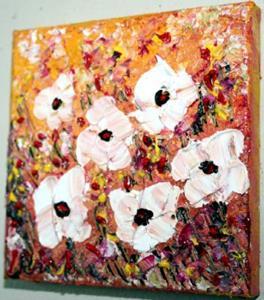 Detail Image for art  WHITE FLOWERS Impasto Palette Knife Textured Oil -sold