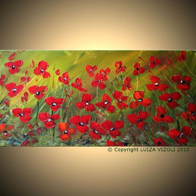 Art: red on moss green.jpg by Artist LUIZA VIZOLI