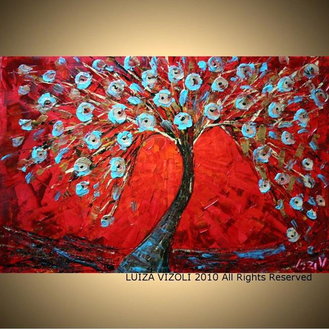 Art: GOLD TREE ON RED.jpg by Artist LUIZA VIZOLI