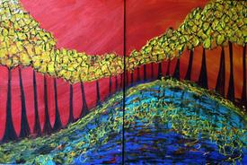"Paintings: Oils & Acrylics Online Art Gallery - Art: ""DANCING TREES "" by Artist LUIZA VIZOLI"