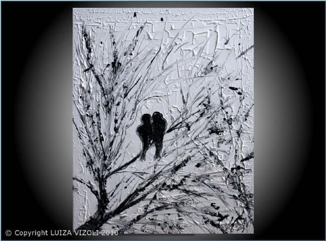 Art: LOVEBIRDS in BLACK and WHITE.jpg by Artist LUIZA VIZOLI