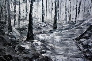 Detail Image for art WINTER WOODS in BLACK and WHITE