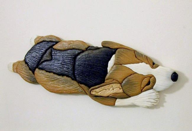 Art: Sweet Dreams Corgi Painted Intarsia Art by Artist Gina Stern