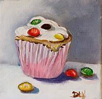 Art: M&M Cupcake by Artist Delilah Smith