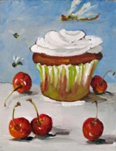 Detail Image for art Cupcake, dragonfly,cherries,and bees