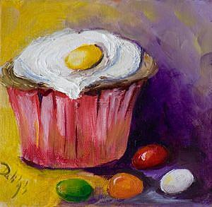 Art: Jellybean Cupcake- SOLD by Artist Delilah Smith