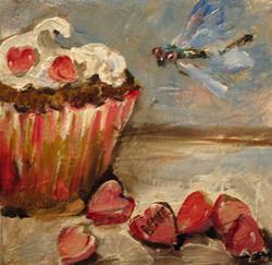 Art: Valentine Love Cupcake by Artist Delilah Smith