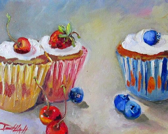 Art: Cupcakes with Fruit by Artist Delilah Smith