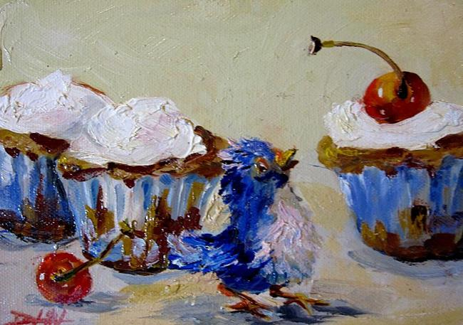 Art: Chubby Bird and Cupcakes with cherries by Artist Delilah Smith