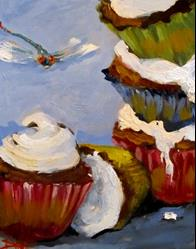 Art: Cupcakes and Dragonfly by Artist Delilah Smith