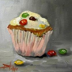 Art: M & M Cupcake by Artist Delilah Smith