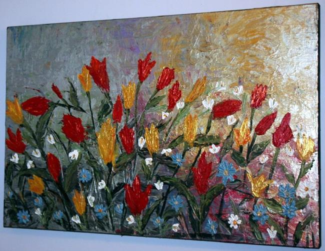 Art: SNOWDROPS,TULIPS,BLUEBELLS SPRING FLOWERS by Artist LUIZA VIZOLI