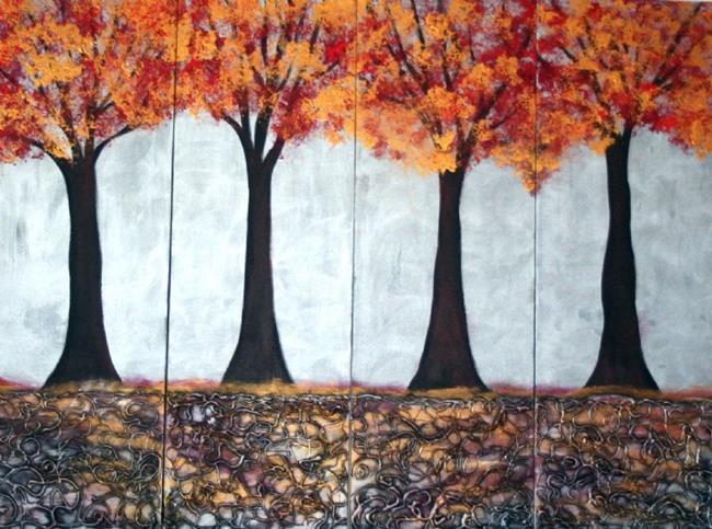 Art: AUTUMN TREES in SILVER SUNSET-custom by Artist LUIZA VIZOLI