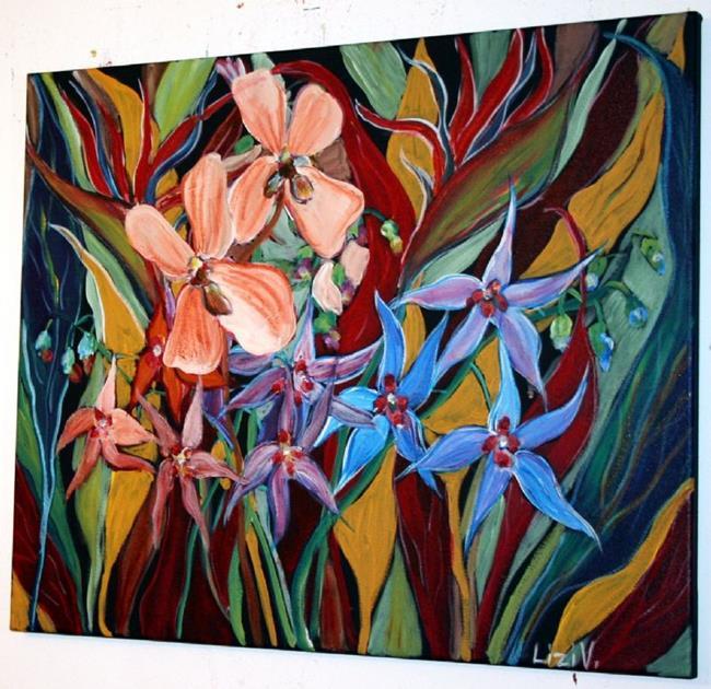 Art: TROPICAL FLOWERS-custom painting for Laureen-sold by Artist LUIZA VIZOLI