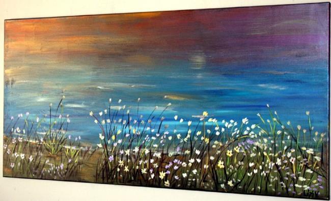 Art: Wild Flowers in the Ocean Breeze-for Laureen-sold by Artist LUIZA VIZOLI
