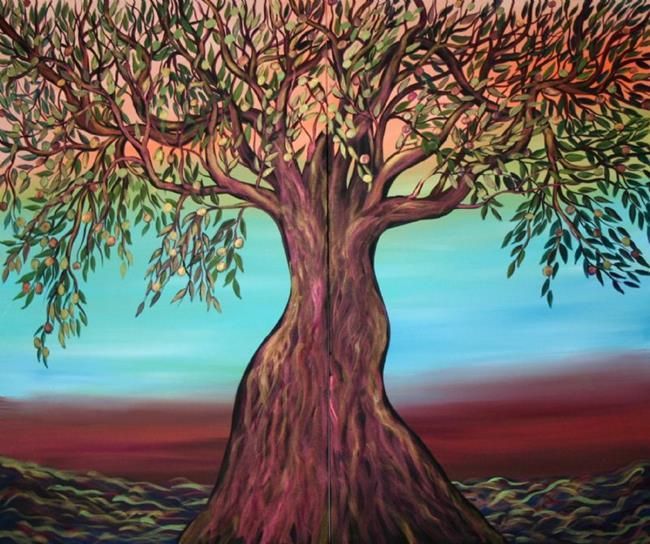 Art: Custom Painting-OLIVE TREE for Christian&George&Freda Falatko---sold by Artist LUIZA VIZOLI