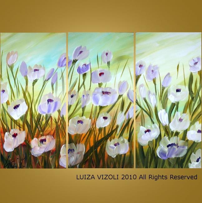Art: White Flowers Dancing in the Breeze  by Artist LUIZA VIZOLI