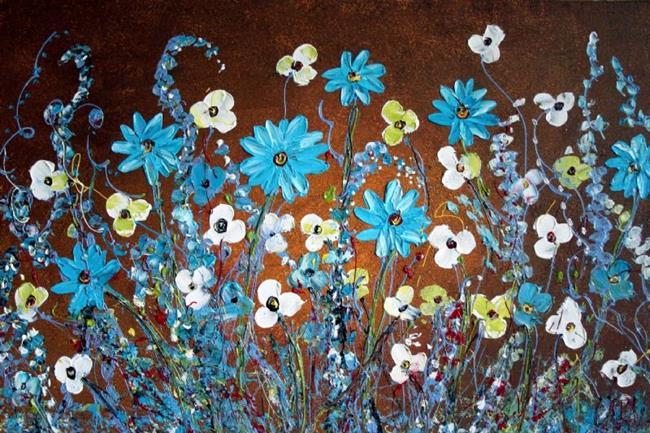 Art: BLUE FLOWERS custom painting by Artist LUIZA VIZOLI