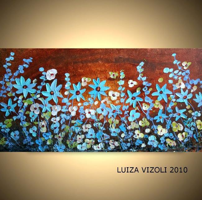 Art: BLUE FLOWERS on BROWN by Artist LUIZA VIZOLI