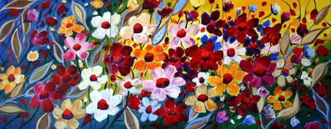 Art: Happy Flowers by Artist LUIZA VIZOLI