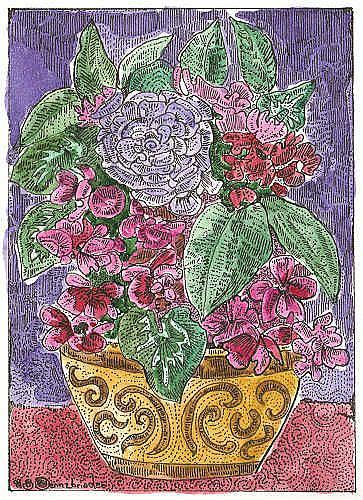 Art: Bouquet with Cyclamen by Artist Theodora Demetriades