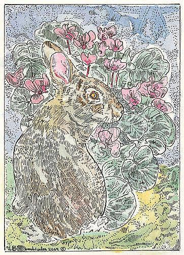 Art: Bad Bunny Ready to Munch on Cyclamen Leaves by Artist Theodora Demetriades