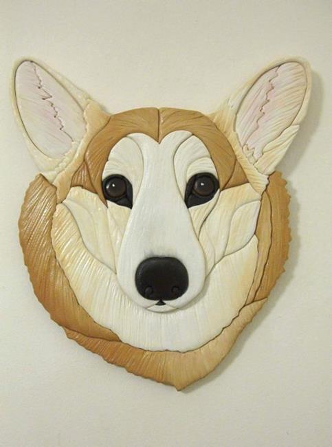 Art: DARLING DARCY Corgi Original Painted  Intarsia Art by Artist Gina Stern