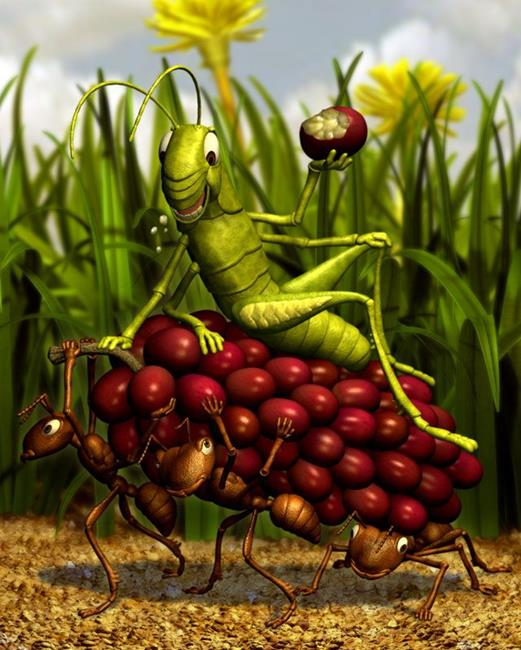 Art: The Ants and the Grasshopper by Artist John Thompson