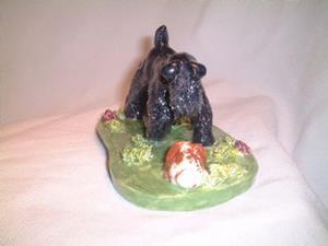Detail Image for art Kerry Blue terrier  lop bunny sculpture