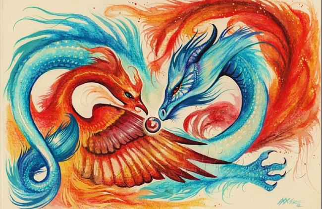 Art: Dragon and Phoenix by Artist Nico Niemi