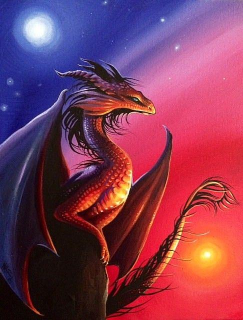 Moonrise Sunset Dragon - by Nico Niemi from dragons |Dragons And Sunsets