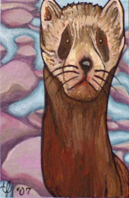 Art: Ferret on the Rocks by Artist Tina Marie Ferguson