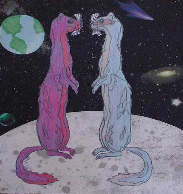 Art: Ferrets on the Moon by Artist Tina Marie Ferguson