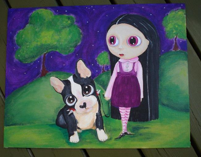 Art: A Pity Puppy & Big Eyed Goth Girl by Artist Noelle Hunt