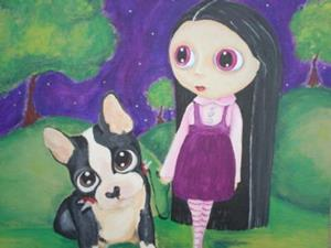 Detail Image for art A Pity Puppy & Big Eyed Goth Girl