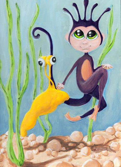 Art: Sea Monkey & Banana Slug by Artist Noelle Hunt