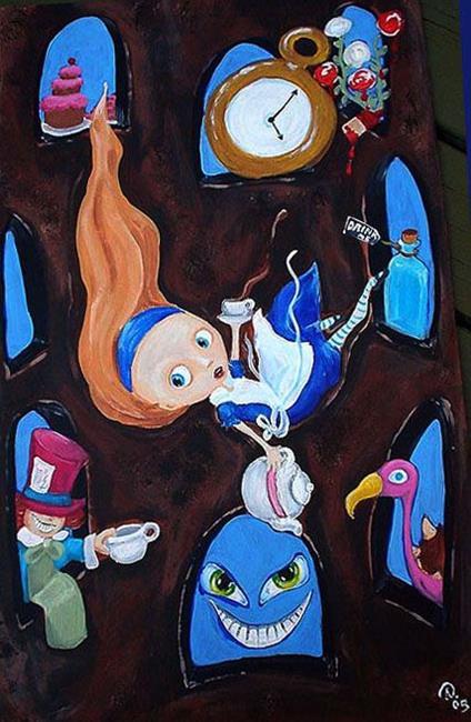 Art: Alice down the rabbit hole by Artist Noelle Hunt