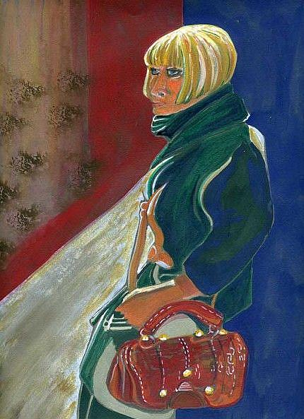 Art: Blonde Girl With Red Handbag by Artist Naquaiya
