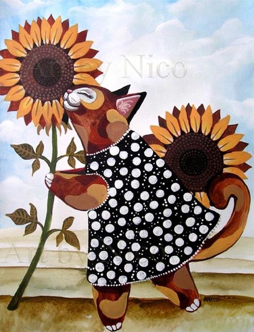 Art: Calico Kitty and Sunflowers by Artist Nico Niemi