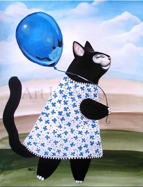 Art: Black Kitty and Balloon by Artist Nico Niemi
