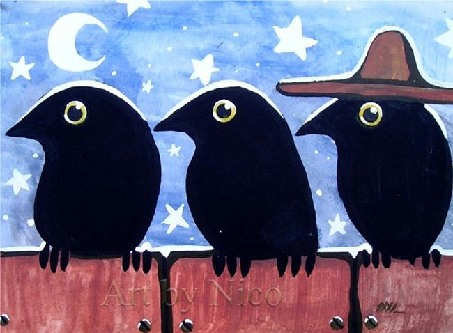 Art: Three Blackbirds, One Hat by Artist Nico Niemi
