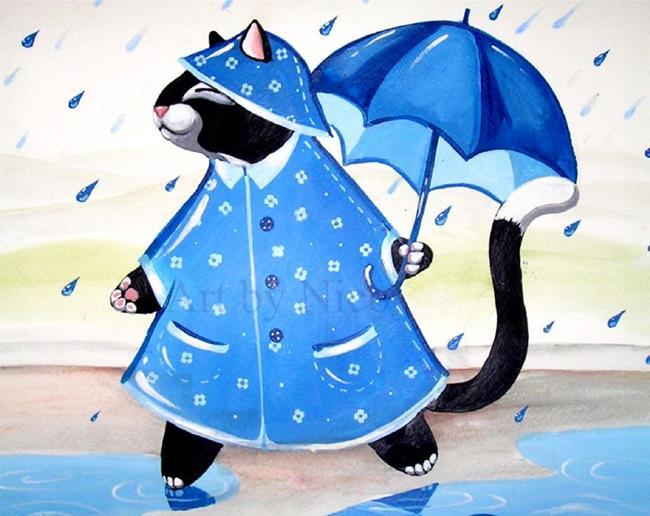 Art: Kitty in a Raincoat by Artist Nico Niemi