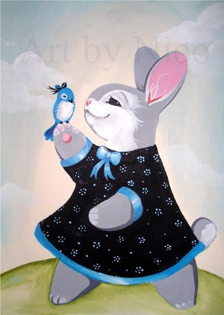 Art: Bunny and Bluebird by Artist Nico Niemi