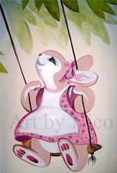 Art: Bunny on a Swing by Artist Nico Niemi