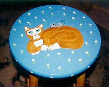Art: orange cat stool by Artist Tracey Allyn Greene