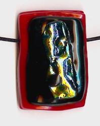 Art: Red Fused glass pendant by Artist Deborah Sprague