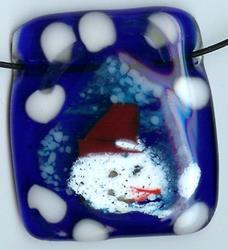 Art: Fused Snowman Pendant by Artist Deborah Sprague