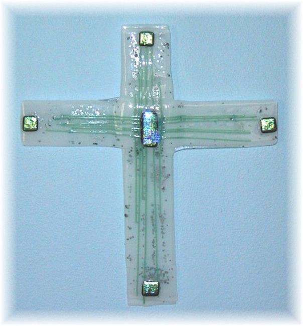 Art: Fused Glass Cross by Artist Deborah Sprague