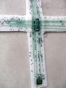 Detail Image for art Fused Glass WALL scultpure cross